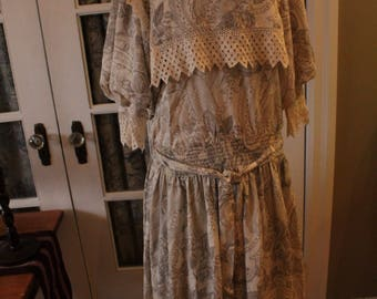 1980's Nicole Miller Dress With Lace Trim