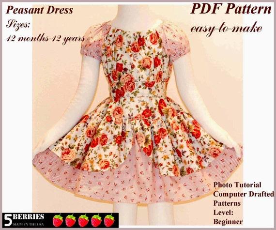 Alexandra PEASANT DRESS PATTERN + Free Mother-Daughter Apron Pattern ...