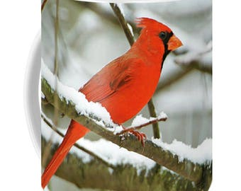 Red Cardinal Bird, Male Cardinal Mug, Photo Coffee Mug, Beverage Mug, Fine Art Ceramic Mug, OOAK Mug, Coffee Cup, Gift for Him, Gift for Her