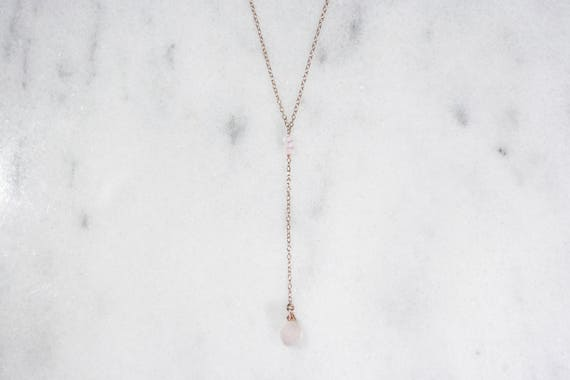 Rose Quartz and 14k Rose Gold Filled or Gold Filled Y-Necklace // Delicate & Dainty Lariat Necklace // Gifts for Her // Bridesmaid Gift