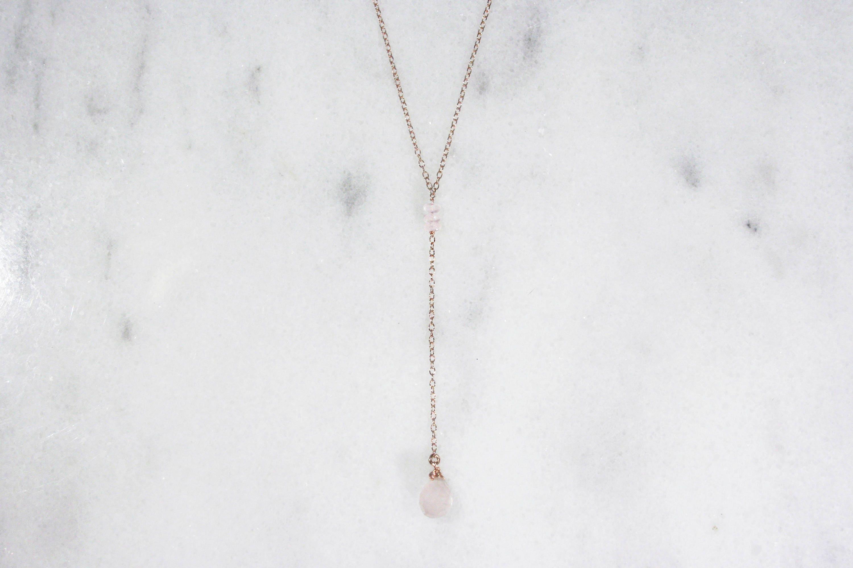 Popular Rose Quartz and 14k Rose Gold Filled or Gold Filled Y-Necklace  AR12