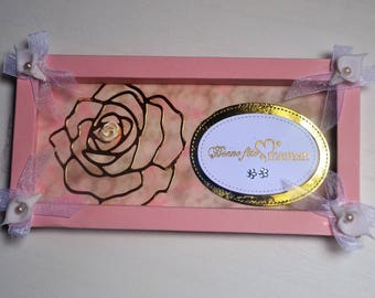 Card frame celebrates mothers pink gold