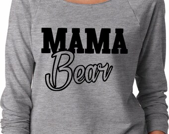 Momma Bear Cursive Ladies Off the Shoulder Terry Raglan