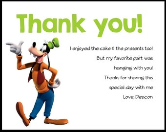 Mickey Mouse Clubhouse- Birthday Party Thank you Card