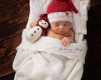 Mini Snowman - PDF PATTERN - photo prop - Christmas - winter - knit