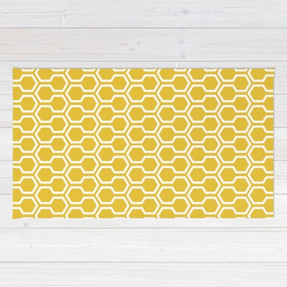 Popular Honeycomb Pattern Area Rug Mustard Yellow Rug Geometric Area RP93