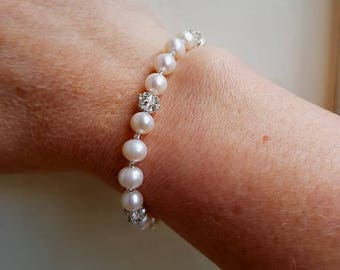 Freshwater pearl wedding bracelet, real pearl and diamante bridal bracelet, Sterling Silver toggle clasp, genuine pearl wedding jewelry GIFT