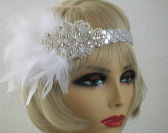 1920s headpiece, Flapper headband, Great Gatsby headband,  Downton Abbey, Gatsby Headpiece, Feather headband, Vintage inspired