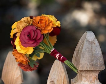 "Fall wedding flower, featured on Hostess with the Mostess ""fall in Love"" theme, fall paper flower wedding bouquet, wild flowers and roses"