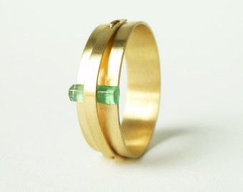 """Raw Columbian Emerald and 14k Yellow Gold Ring, """"Less is More"""""""