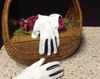 Vintage Pair of White with Navy Trim Short Spectator Gloves