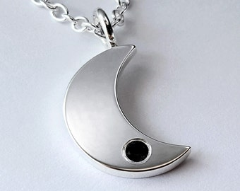 Black Spinel Moon Necklace Pendant in Sterling Silver - Sterling Silver Moon Pendant, Sterling Moon Necklace, Sterling Silver Moon Necklace