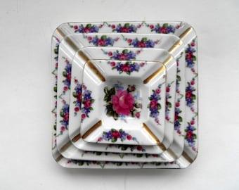 Beautiful Vintage Porcelain Floral Stackable Ashtray Set