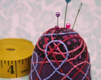 IN STOCK Free US Ship - Plum Mod Art Medium Bottlecap pincushion