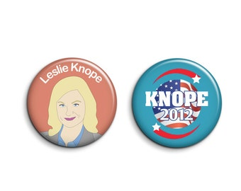 Leslie Knope Buttons - Set of 2 Parks and Rec Badges - Parks and Recreation Pinback Buttons or Magnets