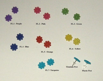 Hypoallergenic Post Earrings,Titanium or Nylon Posts, Fun,Kids Earrings,Bright Flowers,Purple, Pink, Green, Blue, Orange, Yellow