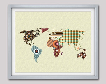 World Map Wall Art, World Map Poster, World Map Decor, World Map Painting, World Map Design, World Map Drawing, Living Room Decor
