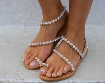 RiRiPoM, Wedding Sandals, Bridal Sandals, Boho Sandals,  Luxurious Sandals, Crystals, Leather Sandals, Sparkly Sandals, ''Ibiza''