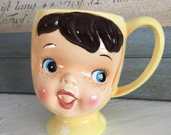 Napco Miss Cutie Pie in yellow vintage 1950s rare mug signed on bottom