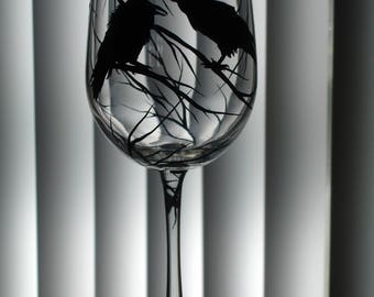 Hand painted crow wine glass