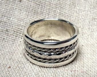 Wedding Band- Braided Band- Sterling Silver -9mm Band RF058 - Popular style-sharp-