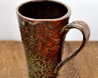 Leather Brown Breaking to Green Large Ceramic Textured Tumbler Mug Ready to Ship