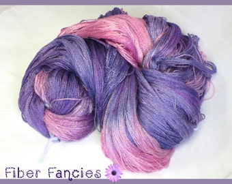 Hand Dyed Bamboo Yarn, Fingering Weight,  Lace Weight, Purple, Pink Fuchsia, In Bloom