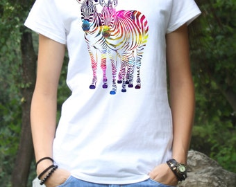 Zebra Tee - Art T-Shirt - Fashion Tee - White shirt - Printed shirt - Women's T-shirt