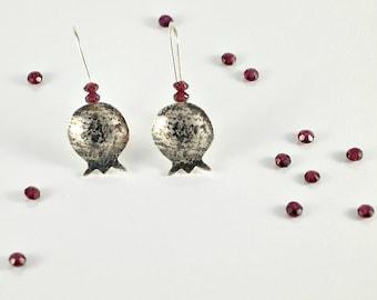 Pomegranate Earrings Bat Mitzvah Gift, Red Garnet Earrings in Sterling Silver, Judaica Jewelry, Pomegranate Jewelry Gift For Teens