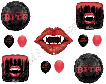 VAMPIRE HALLOWEEN Party Balloons Decoration Supplies Birthday Blood Fangs