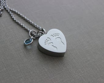 Baby feet Cremation Urn Pendant - Stainless Steel - Personalized with Swarovski crystal birthstone charm memorial  - Infant Loss - footprint