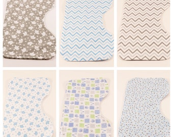 Baby Boy Burp Cloths, Blue and Grey Burp Rags, Contoured Flannel Burp Cloths, New Baby Gift, Baby Boy Gift