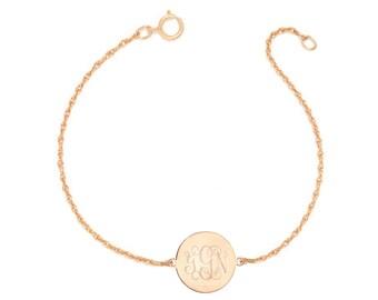 "Personalized gold Monogram Bracelet - 1/2"" custom 3 Initials link Bracelet, Initial Monogram Bracelet in 18k rose gold plated 925 silver"