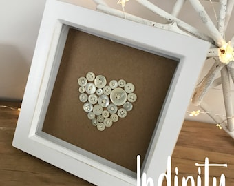 Heart Picture Frame, Button Frame, Wedding Gift
