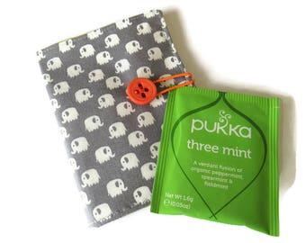 Wallet - Grey Tea Bag Holder - Wallet for Tea Bags - Card Wallet - Tea Bag Wallet - Teabag Wallet - Teabag Case