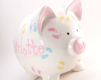 Piggy Toe Piggy Bank - Personalized Piggy Bank - Baby Feet Bank -  Baby Nursery Bank - Ceramic Bank - with hole or NO hole in bottom
