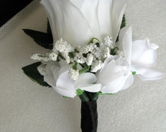 Black Wrap Stem White Rose Bud Flower Boutonniere Wedding Prom