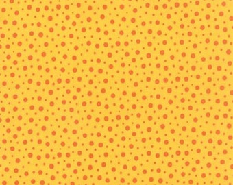 Fabric - Block Party Yellow with Orange Dots by Sandy Gervais for Moda - Yardage - 17813 17