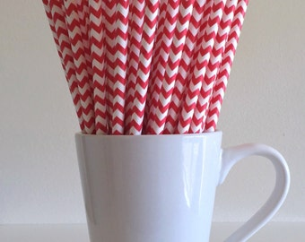 Red Chevron Paper Straws Party Supplies Party Decor Bar Cart Cake Pop Sticks Mason Jar Straws Graduation
