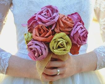 Paper Flower Wedding Bouquet Handmade from Novels