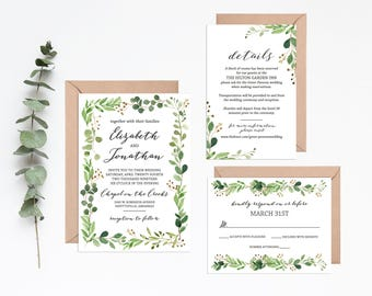 Greenery Wedding Set | Eucalyptus Wedding | Greenery Watercolor Invitation Suite | Greenery Leaves Wedding Invite | Boho Wedding Suite