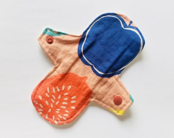 "7"" organic cotton Cloth Panty Liner, Cloth Pads, Mama Cloth, Mama Pads, Reusable Washable Cloth Pads, Moon Pads, Fruits"