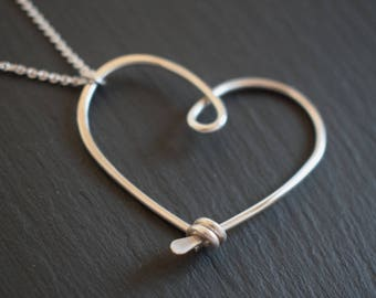 Silver Heart Pendant - 'LOVE TOKEN', Wire Heart Necklace, Heart Jewellery, Silver Wire Heart, Sterling Silver Jewelry, Gift for Her