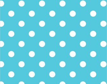 Polka Dot Fabric, Blue Dot Fabric, Aqua Dot White Fabric, 100% Quilting Cotton Fabric, By the Yard