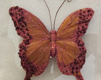 butterfly clip on feathers rust burnt orange dyed red rust glitter black seed beads large