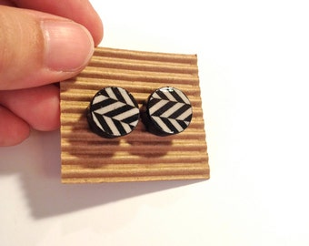 Cute Stud Earrings - Shevron - Wooden Earrings - Faux Plugs - Black and White