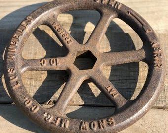 Salvaged Vintage Iron Metal SNOW MFG CO - Los Angeles 1935