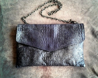 ENGRAVED LEATHER BAG- Envelope Clutch - Chic clutch - Soft leather bag- brown colour