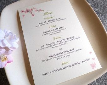 Cherry Blossoms Wedding Menu Cards
