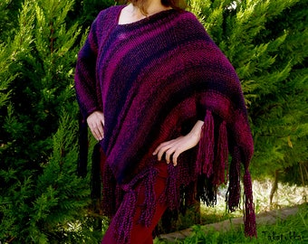 Fuchsia poncho,  Hand knitted poncho, Gypsy Poncho, Woman Poncho Cape, Poncho Sweater, Fringe Poncho, Women Accessories, Knit Capelet  Women